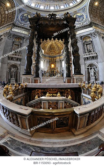 Apse, Cathedra Petri, St. Peter's Tomb, canopy by Bernini, fisheye, St. Peter's Basilica, historic city centre, Vatican City, Italy, Europe