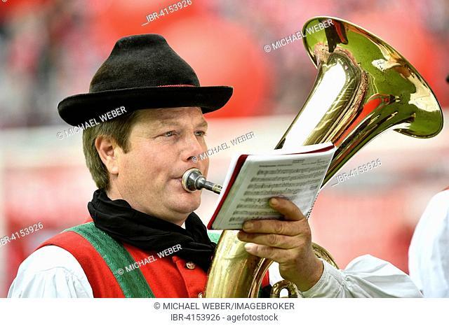 Brass player, championship celebration of the FC Bayern, 25th German Football Championship, Allianz Arena, Munich, Bavaria, Germany