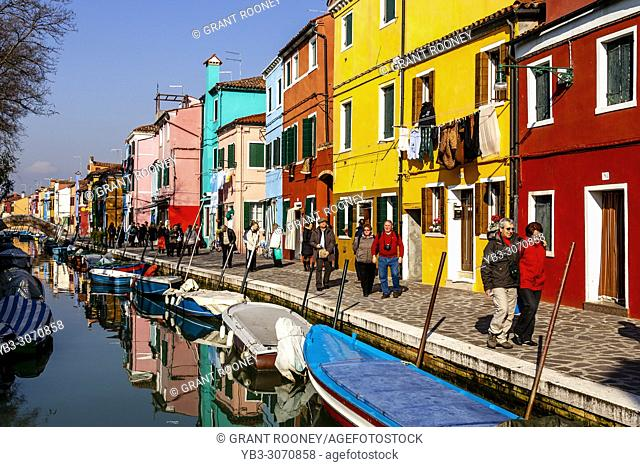 Colourful Houses On The Island Of Burano, Venice, Italy