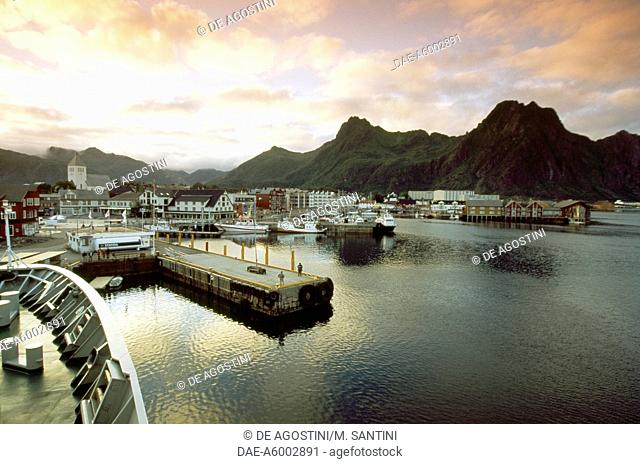 Sunset over Svolvaer port, Austvagoy island, Lofoten islands, Nordland county, Norway