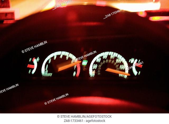 Instrument controls in speeding race car