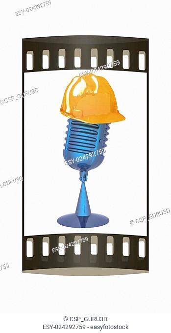 New 3d concept of technology education with microphone and hard hat. The film strip