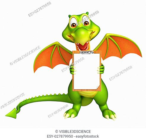 3d rendered illustration of Dragon cartoon character with exam pad