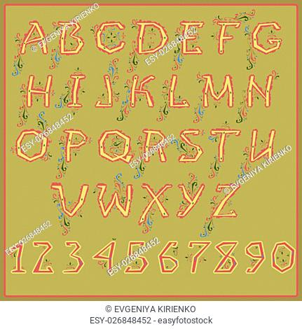 Ethnic yellow alphabet with red floral decor. Unusual font. Illustration