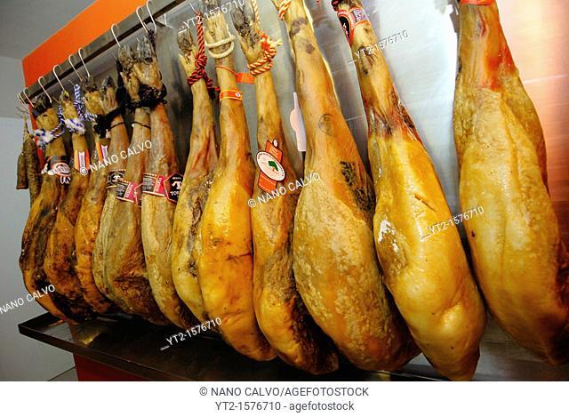 Jamon Serrano or spanish salty ham