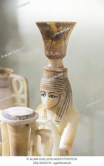 Egypt, Cairo, Egyptian Museum, Tutankhamon alabaster, from his tomb in Luxor : Detail of a composite vessel, a vase in the shape of the Nile god Hapy
