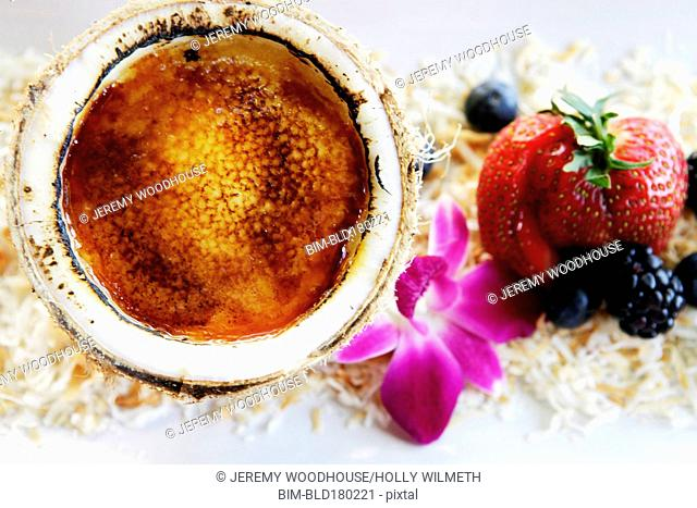 Close up of coconut dessert with fruit