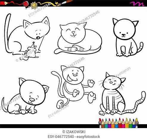 Black and White Cartoon Illustration of Cats Animal Characters Set Coloring Book