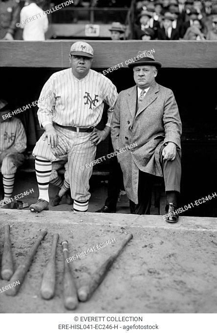 Babe Ruth in a NY Giants uniform with Giants Manager John McGraw, Oct. 23, 1923. Ruth was playing in a post-season charity game