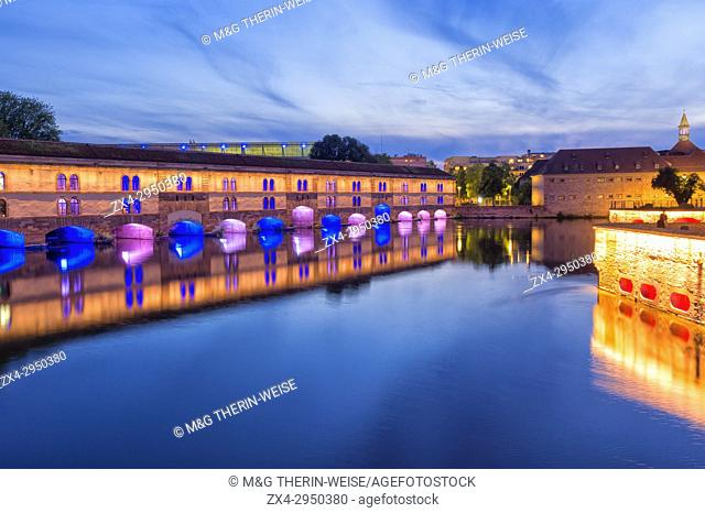 Barrage Vauban at twilight, Strasbourg, Alsace, Bas-Rhin Department, France