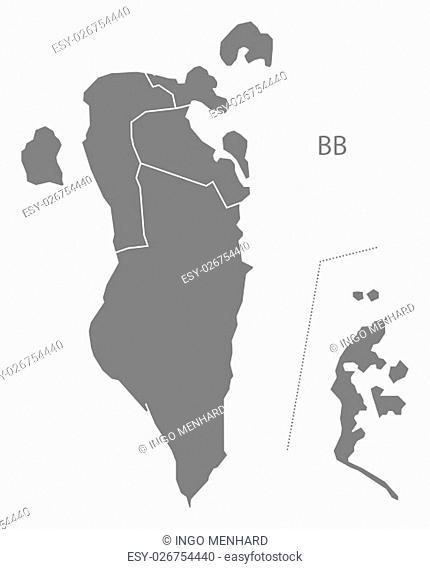 Bahrain governorates Map grey