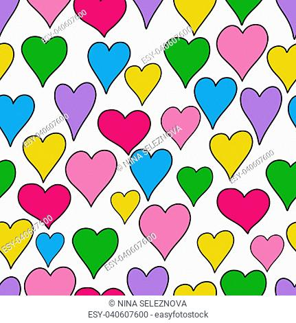 hand drawn hearts seamless pattern