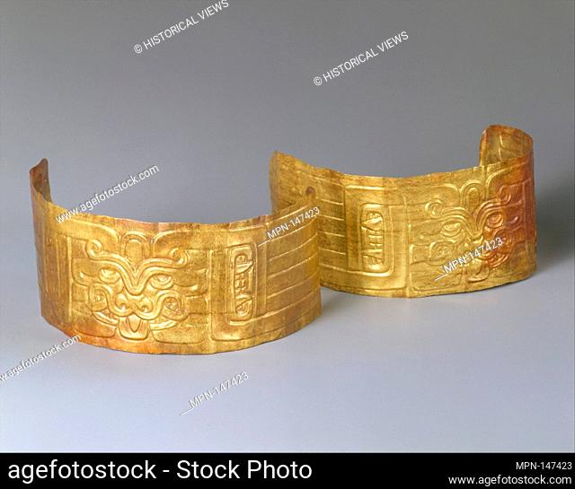 Pair of Arm Bands. Date: 7th-5th century B.C; Geography: Peru; Culture: Chavin; Medium: Gold; Dimensions: H. 1 7/8 x L. 8 in. (4.7 x 20