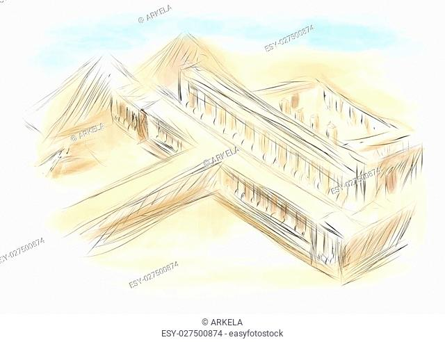 ancient egypt. abstract illustration of old temple