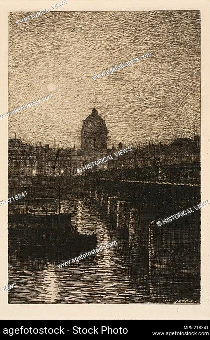 Le Pont des Arts - 1869 - Maxime Lalanne French, 1827-1886 - Artist: Maxime Lalanne, Origin: France, Date: 1869, Medium: Etching and drypoint on cream laid...