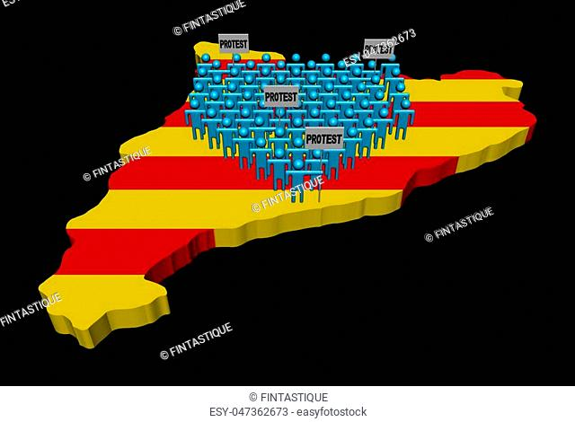Crowd of people on Catalonia map with protest signs 3d illustration