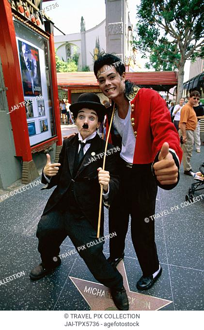 Hollywood / Hollywood Boulevard / Walk of Fame / Charlie Chaplin & Micheal Jackson Imperso, Los Angeles, California, USA