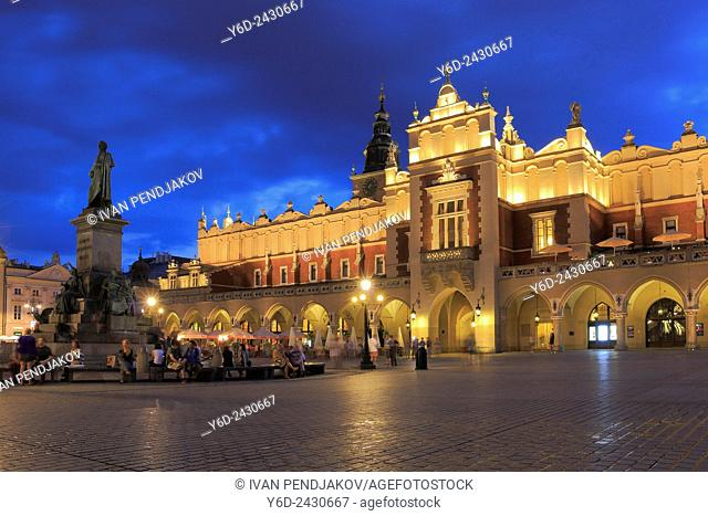 Main Market Square and the Cloth Hall in the Evening, Krakow, Poland
