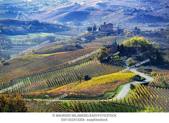 Road between the hills of Langa Piemonte Italy, at the bottom the castle of Grinzane cavour