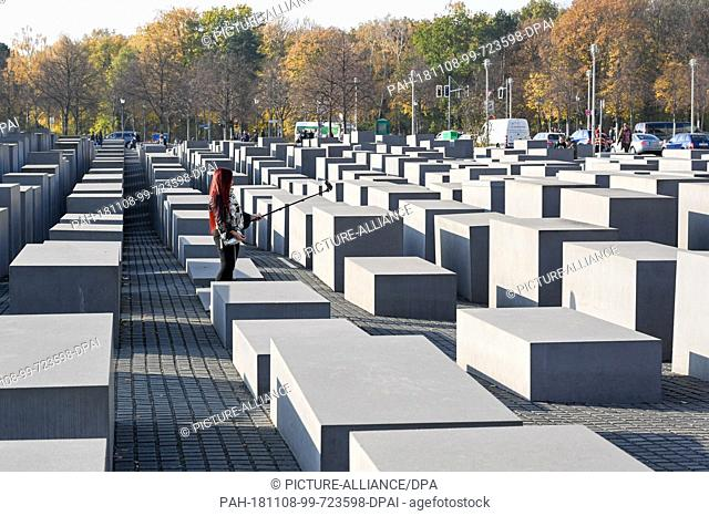 25 January 2018, Berlin: The Memorial to the Murdered Jews of Europe, Holocaust Memorial. It consists of 2711 cuboid concrete steles