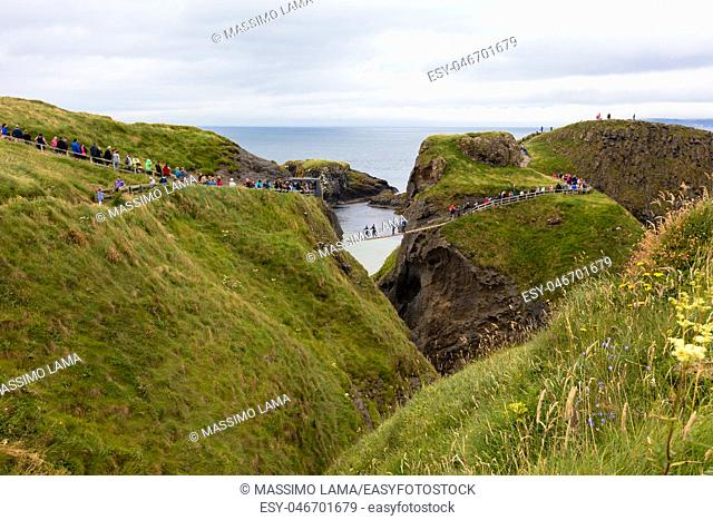 Carrick-a-Rede Rope Bridge is a bridge near Ballintoy in County Antrim, Northern Ireland. The bridge links the mainland to the island of Carrickarede