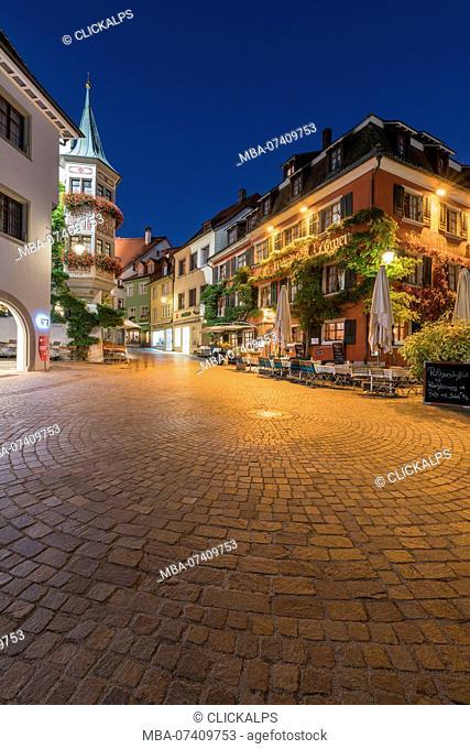 Square in the Upper Town at dusk. Meersburg, Baden-Württemberg, Germany