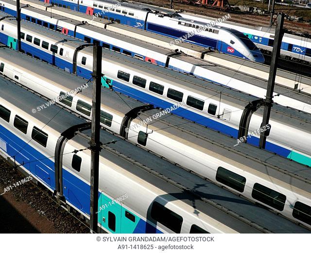 France, Ile-de-France, Paris,TGV railway trains in Gare de Lyon station