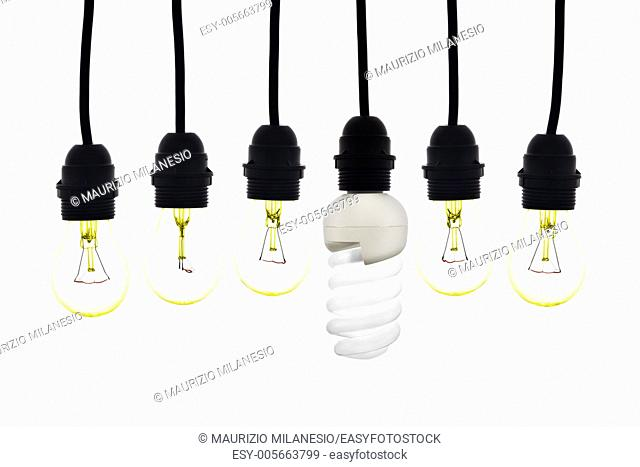 A light bulb with low consumption between light bulbs tungsten on white background