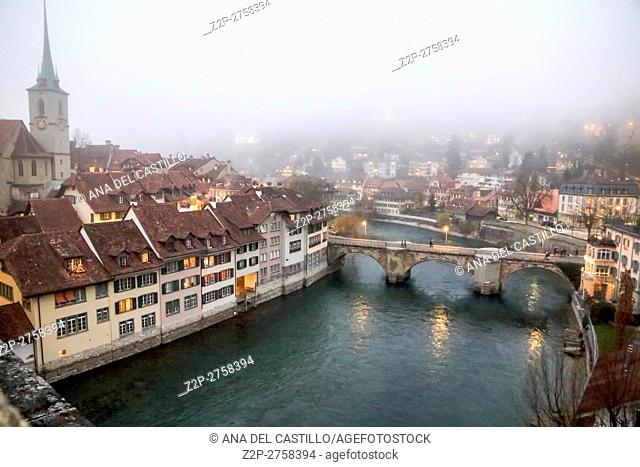 cityscape of Bern on Christmas time on December 5, 2015 in Bern, Switzerland. Aare river at dusk