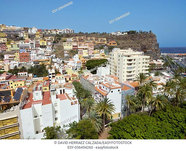 Aerial view of San Sebastian de la Gomera cityscape, Canary island, Spain