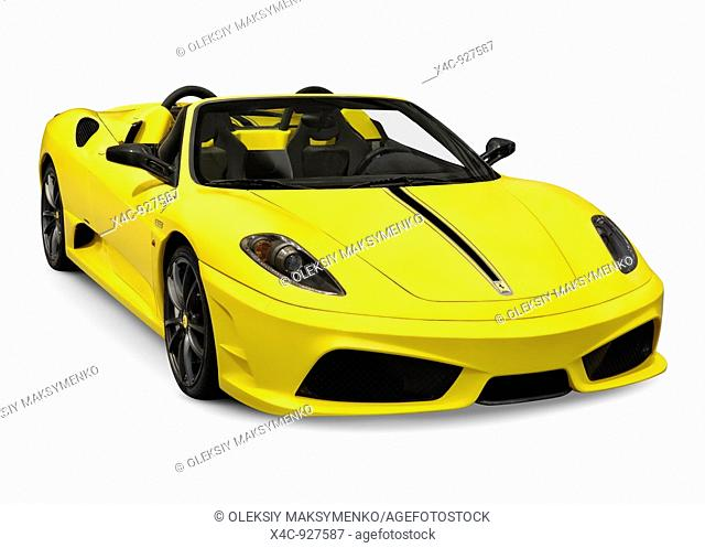 Yellow Ferrari 16M Scuderia Spider sports car isolated on white background with clipping path