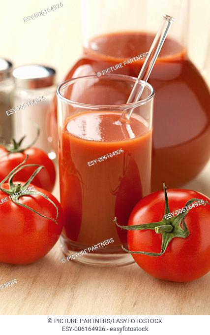 Fresh tomato juice on the table