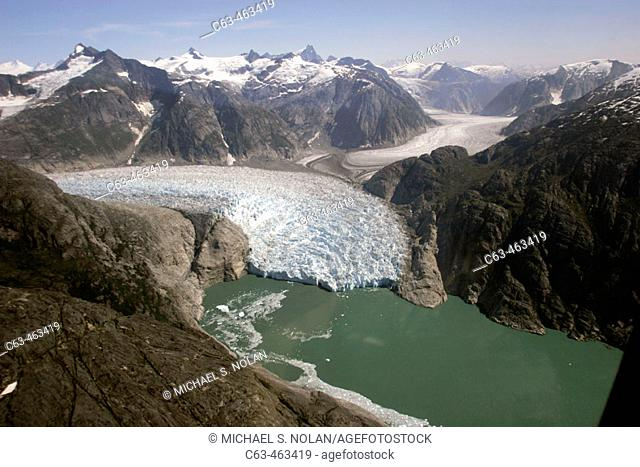Aerial view of the Le Conte and Patterson Glacier, the Stikine Ice Field, and the mountains surrounding the town of Petersburg, Southeast Alaska, USA