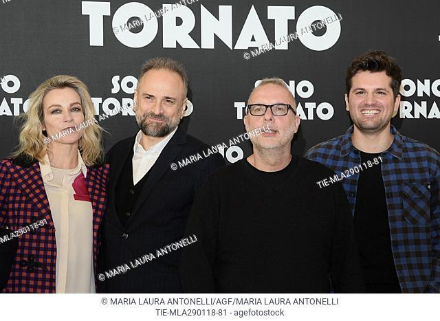 Stefania Rocca, Massimo Popolizio, the director Luca Miniero, Frank Matano during the photocall of film Sono tornato, Rome, ITALY-29-01-2018