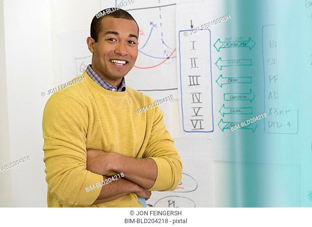 Mixed race businessman smiling in office