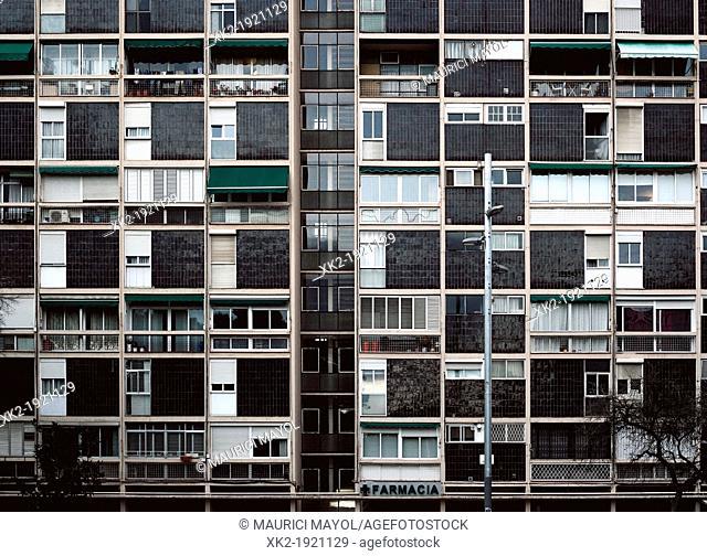 Facade of residential housing in Montbau, Barcelona