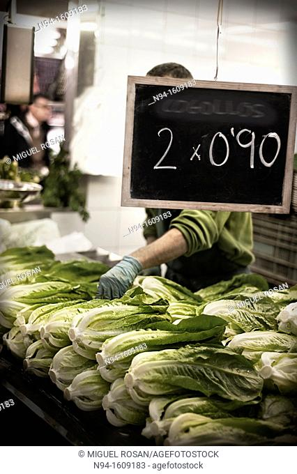 Lettuce stall in Central Market in Valencia. Spain