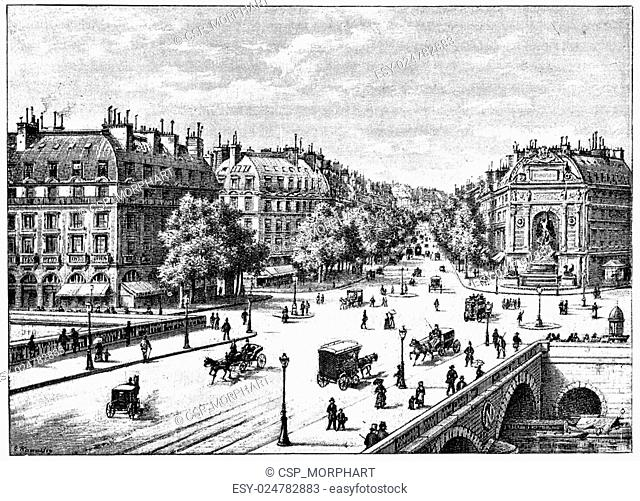 The bridge, the square and the boulevard Saint-Michel, vintage engraving