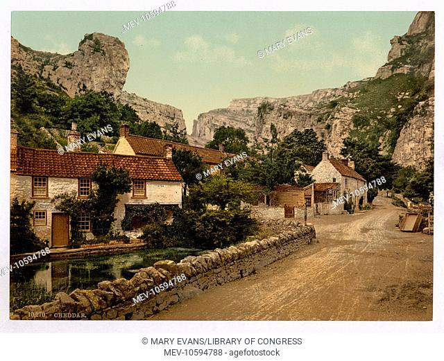 The village and Lion Rock, Cheddar, England. Date between ca. 1890 and ca. 1900