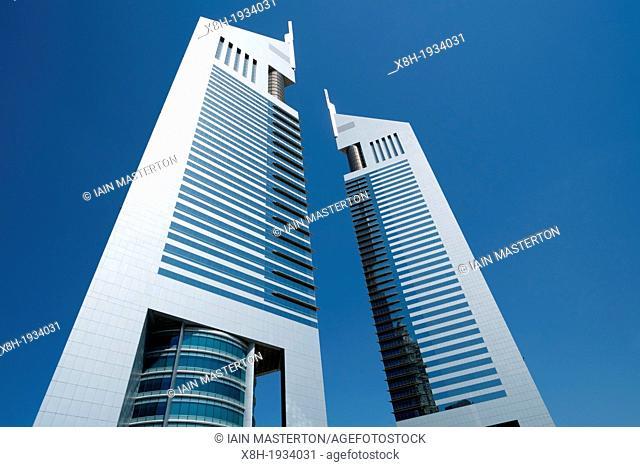 Emirates Towers in financial district of Dubai United Arab Emirates UAE