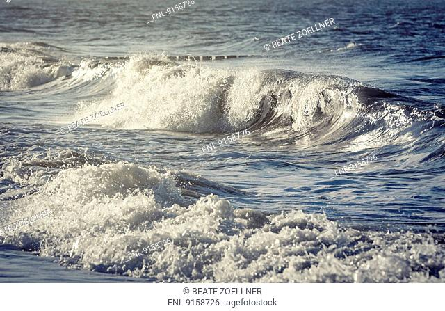 Surf of North Sea, Sylt, Schleswig-Holstein, Germany, Europe