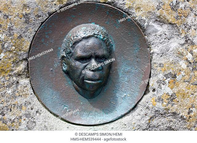Australia, Tasmania, Bruny Island, memorial dedicated to the Aboriginal resistant Truganini, killed by the settlers in 19th century