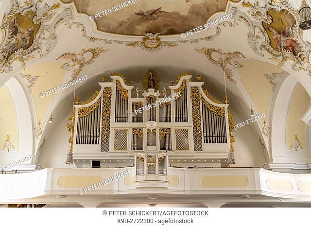 Maria Himmelfahr church organ, Schongau, Upper-Bavaria, Bavaria, Germany, Europe