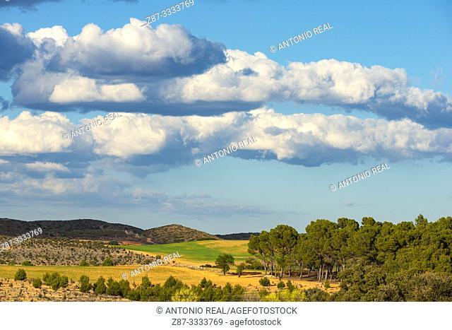 Landscape with clouds. Almansa. Albacete province, Castile-La Mancha, Spain