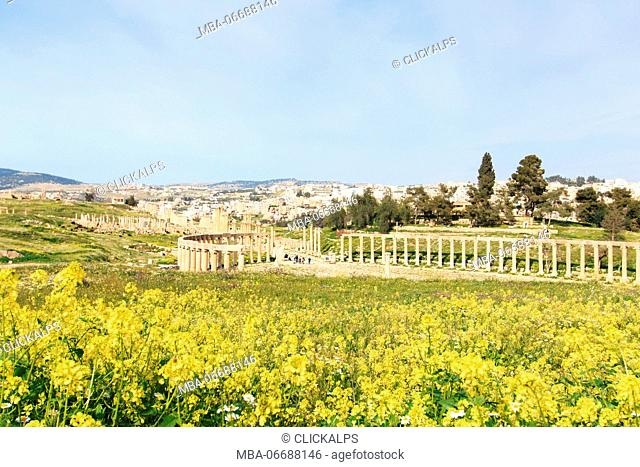 Ruins of the ancient Jerash, the Greco-Roman city of Gerasa in modern Jordan