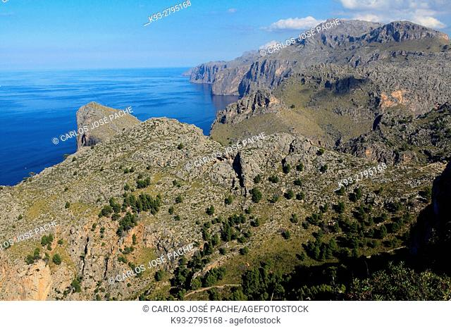 View from Torre de Sa Mola, Serra de Tramuntana, Majorca, Balearic Islands, Spain