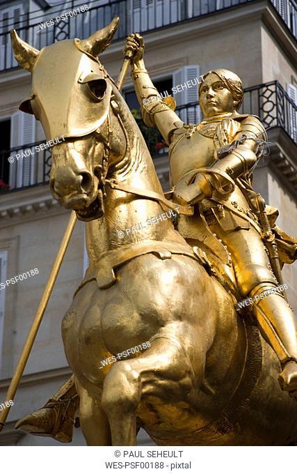 France, Paris, Place des Pyramides, Jeanne d Arc statue, low angle view