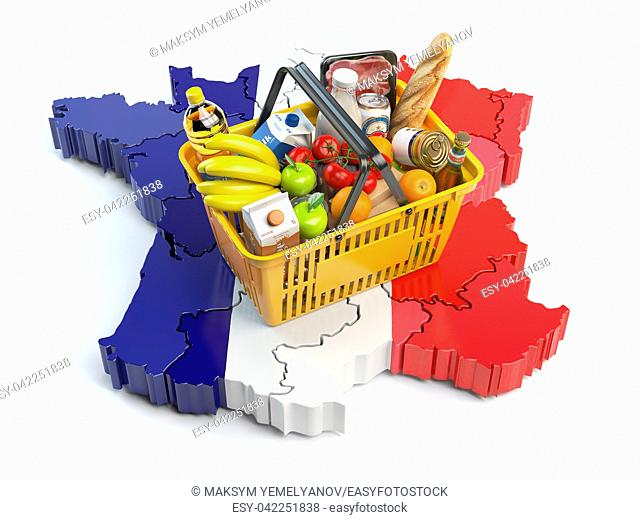 Market basket or consumer price index in France. Shopping basket with foods on the map of France. 3d illustration