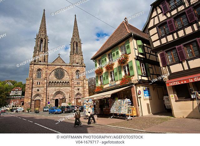The imposing church Saint-Pierre-et-Paul in Obernai, Alsace, France, Europe