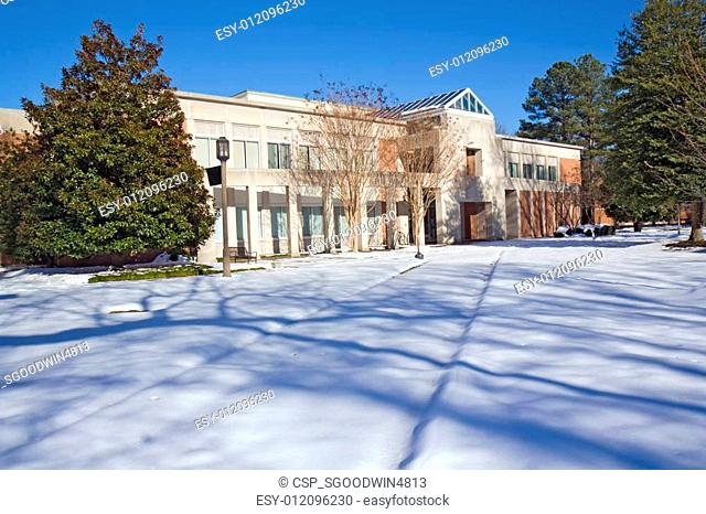 Library on a college campus in winter